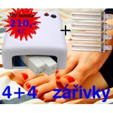 UV Lampa na nehty 36 W  SM-818 bílá 4 + 4 zářivky